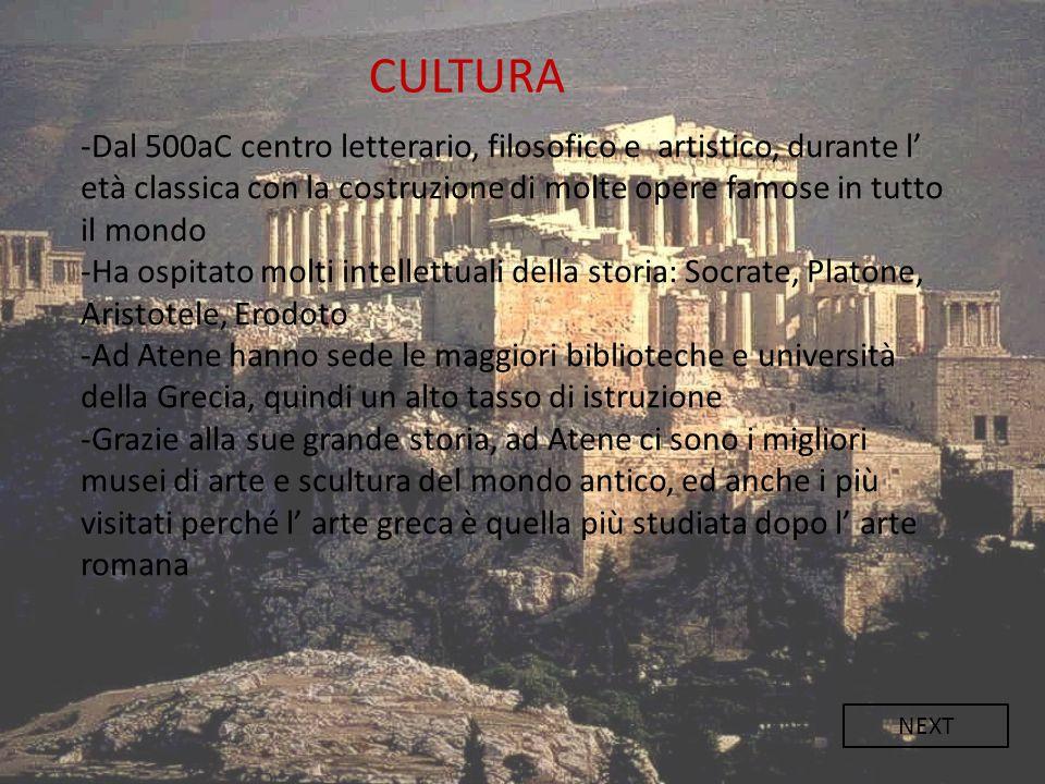 -Dal 500aC centro letterario, filosofico e artistico, durante l' età classica con la costruzione di molte opere famose in tutto il mondo -Ha ospitato