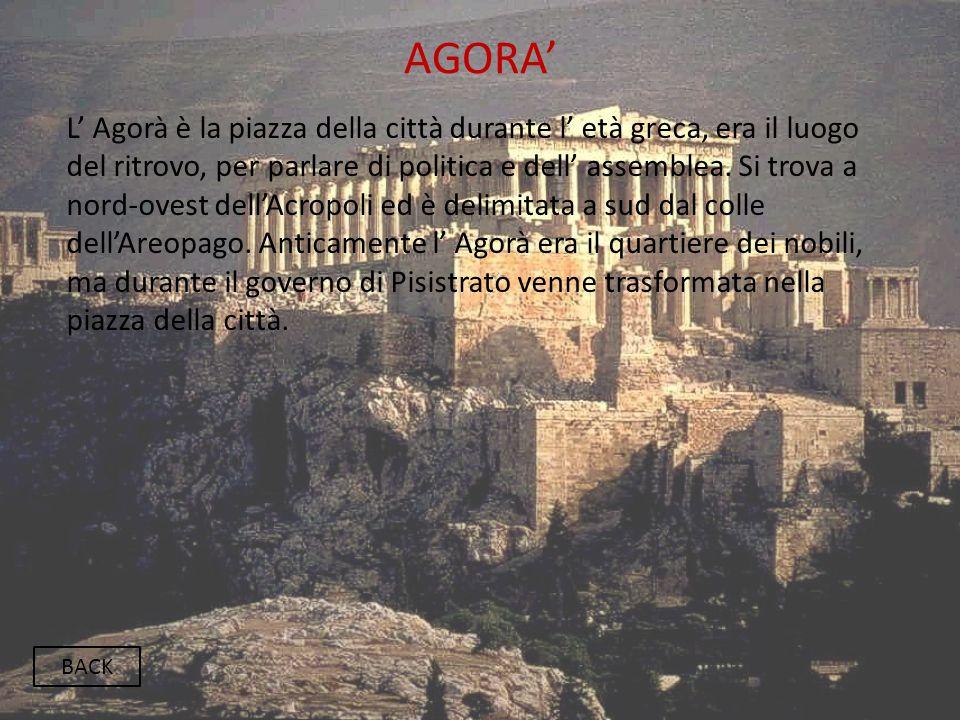 AGORA' BACK L' Agorà è la piazza della città durante l' età greca, era il luogo del ritrovo, per parlare di politica e dell' assemblea. Si trova a nor