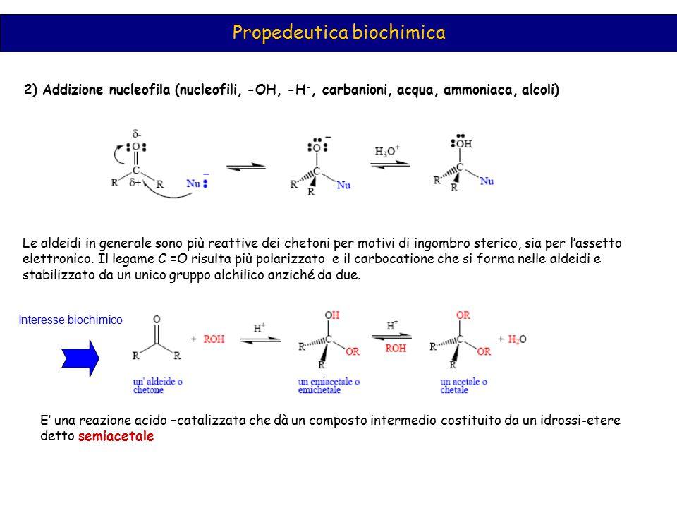 Propedeutica biochimica 2) Addizione nucleofila (nucleofili, -OH, -H -, carbanioni, acqua, ammoniaca, alcoli) Le aldeidi in generale sono più reattive