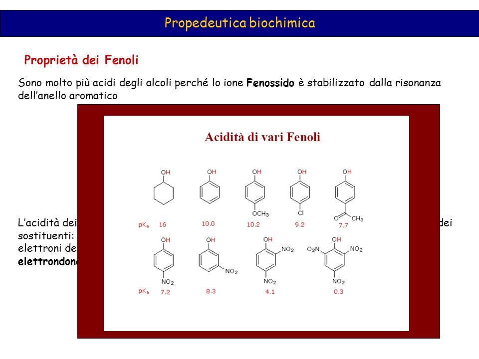 Proprietà dei Fenoli Propedeutica biochimica Sono molto più acidi degli alcoli perché lo ione Fenossido è stabilizzato dalla risonanza dell'anello aro