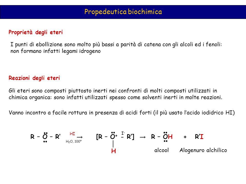 Propedeutica biochimica Proprietà degli eteri I punti di ebollizione sono molto più bassi a parità di catena con gli alcoli ed i fenoli: non formano i