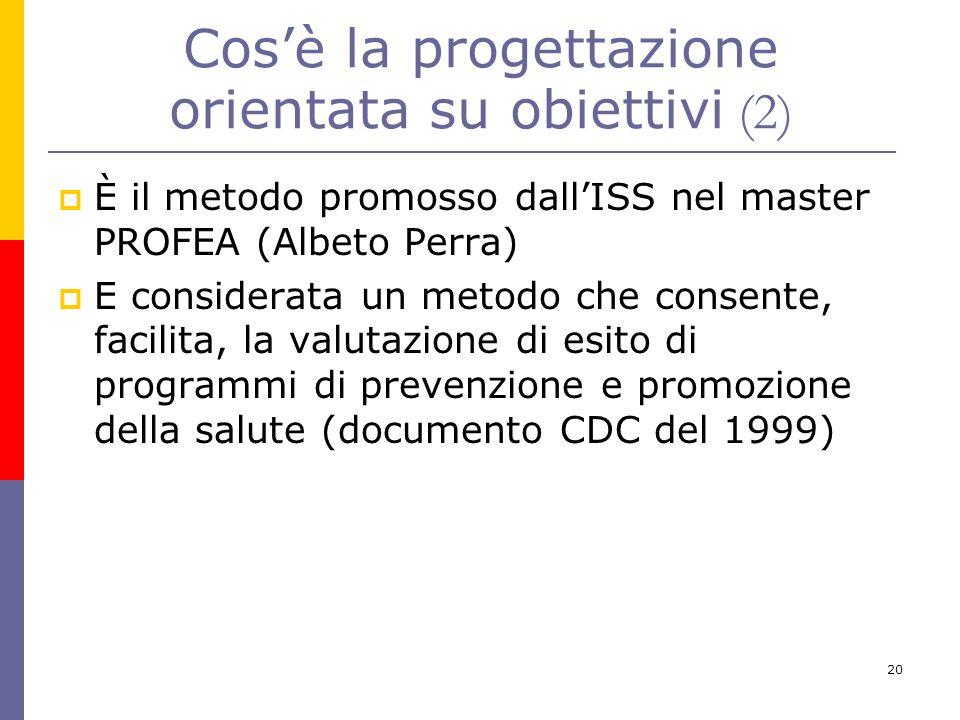 20  È il metodo promosso dall'ISS nel master PROFEA (Albeto Perra)  E considerata un metodo che consente, facilita, la valutazione di esito di progr