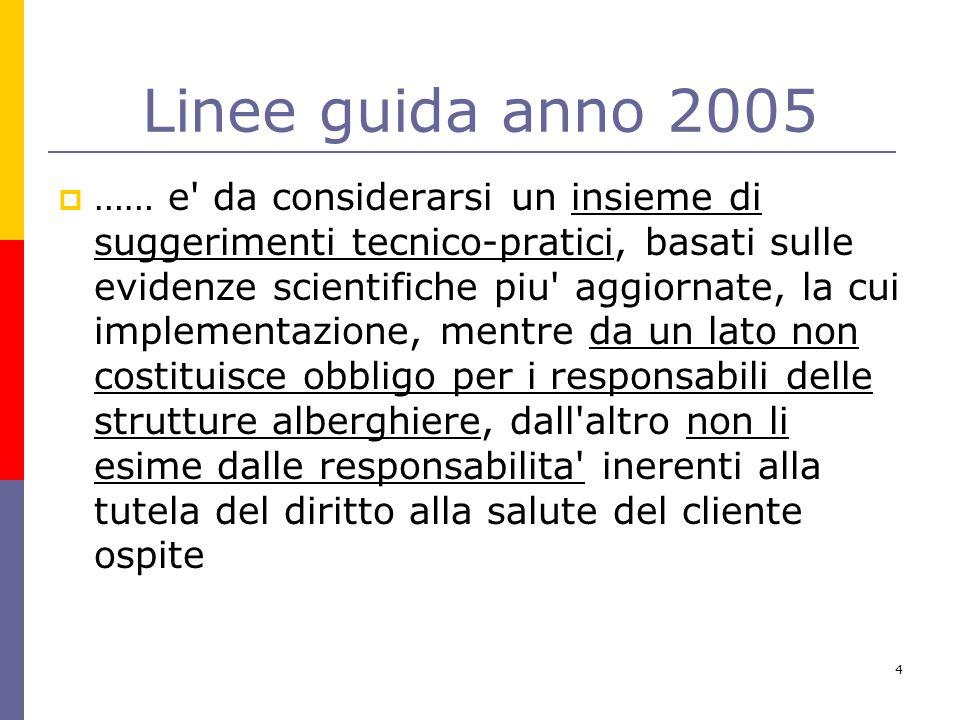 4 Linee guida anno 2005  …… e' da considerarsi un insieme di suggerimenti tecnico-pratici, basati sulle evidenze scientifiche piu' aggiornate, la cui