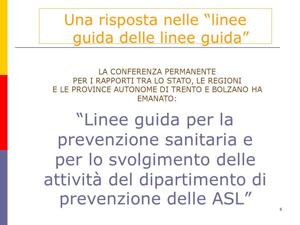 """6 """"Linee guida per la prevenzione sanitaria e per lo svolgimento delle attività del dipartimento di prevenzione delle ASL"""" Una risposta nelle """"linee g"""