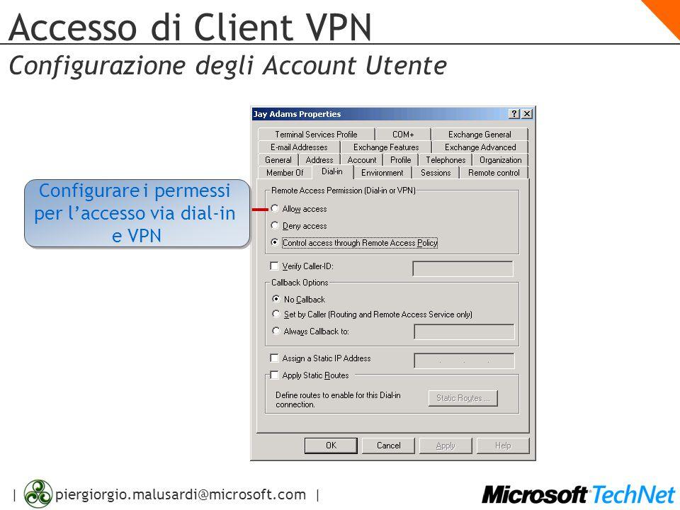 | piergiorgio.malusardi@microsoft.com | Accesso di Client VPN Configurazione degli Account Utente Configurare i permessi per l'accesso via dial-in e V