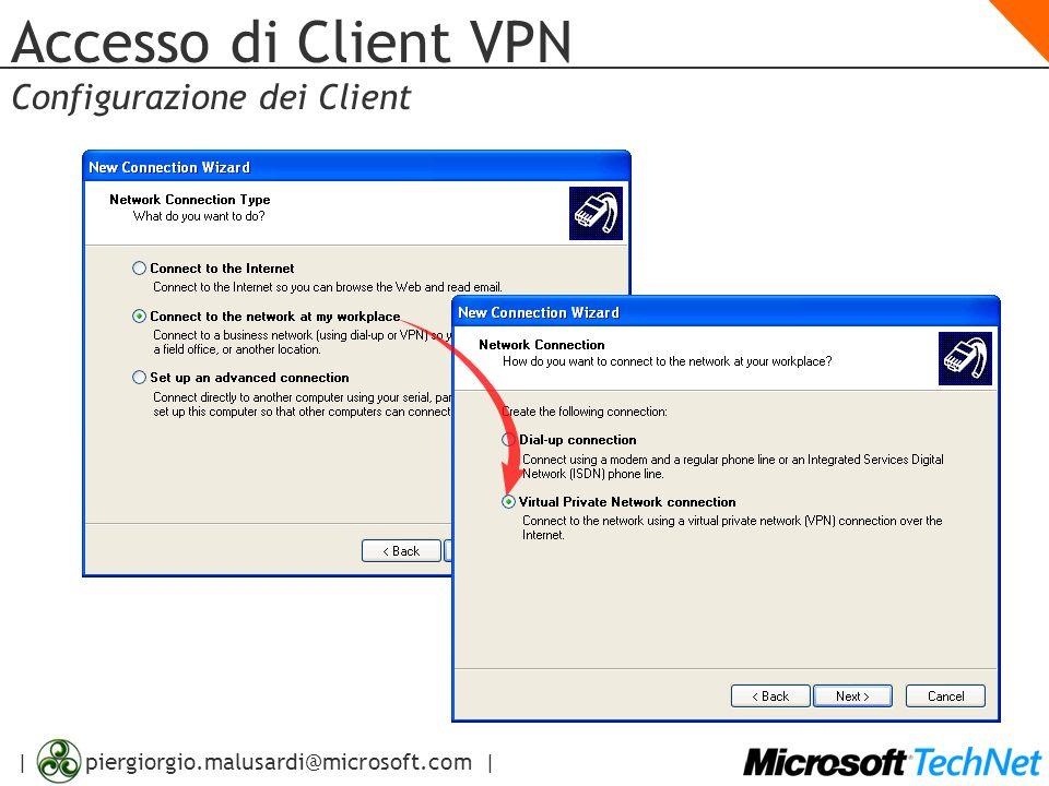 | piergiorgio.malusardi@microsoft.com | Accesso di Client VPN Configurazione dei Client