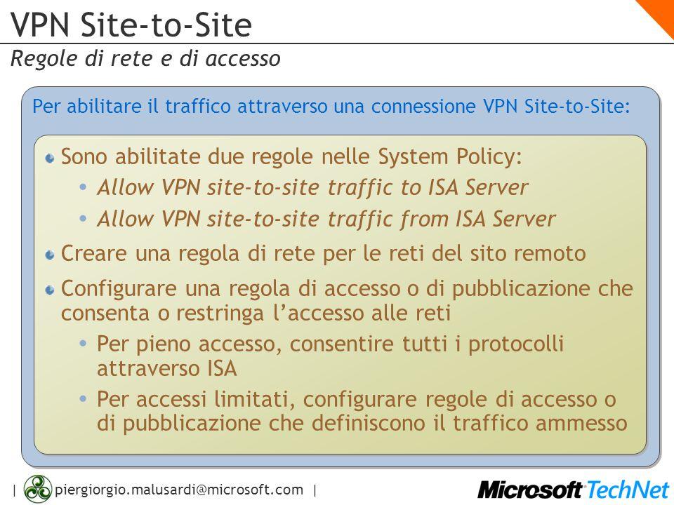 | piergiorgio.malusardi@microsoft.com | VPN Site-to-Site Regole di rete e di accesso Per abilitare il traffico attraverso una connessione VPN Site-to-