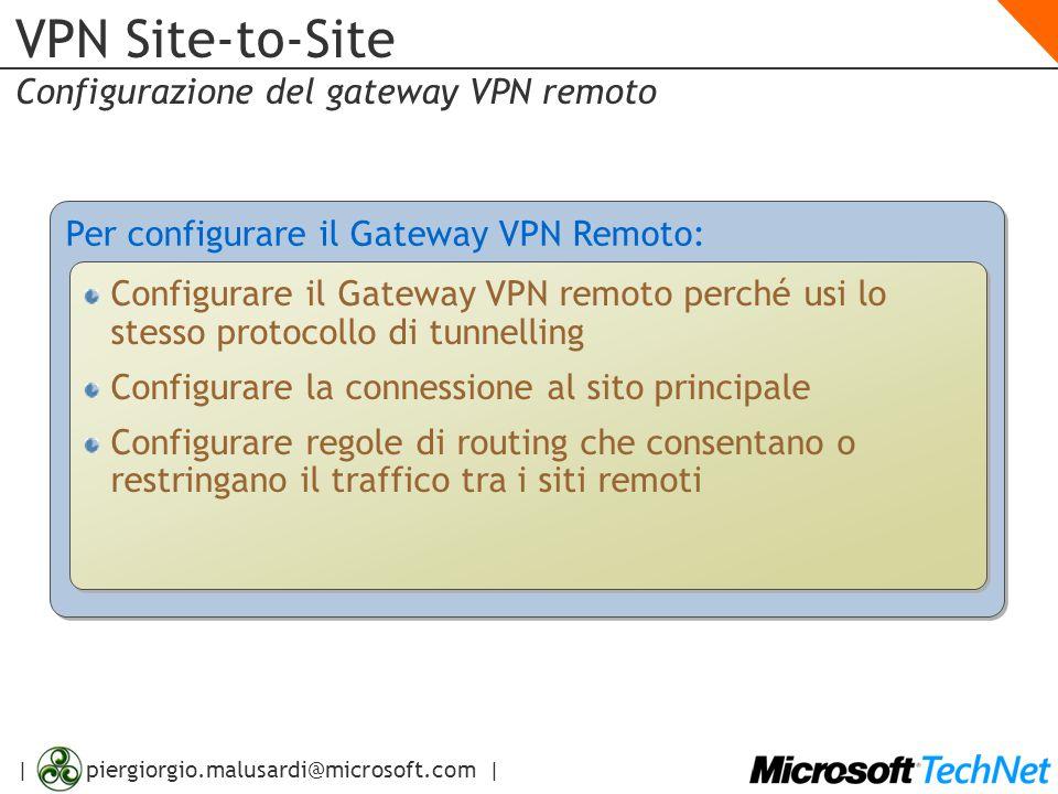 | piergiorgio.malusardi@microsoft.com | VPN Site-to-Site Configurazione del gateway VPN remoto Per configurare il Gateway VPN Remoto: Configurare il G