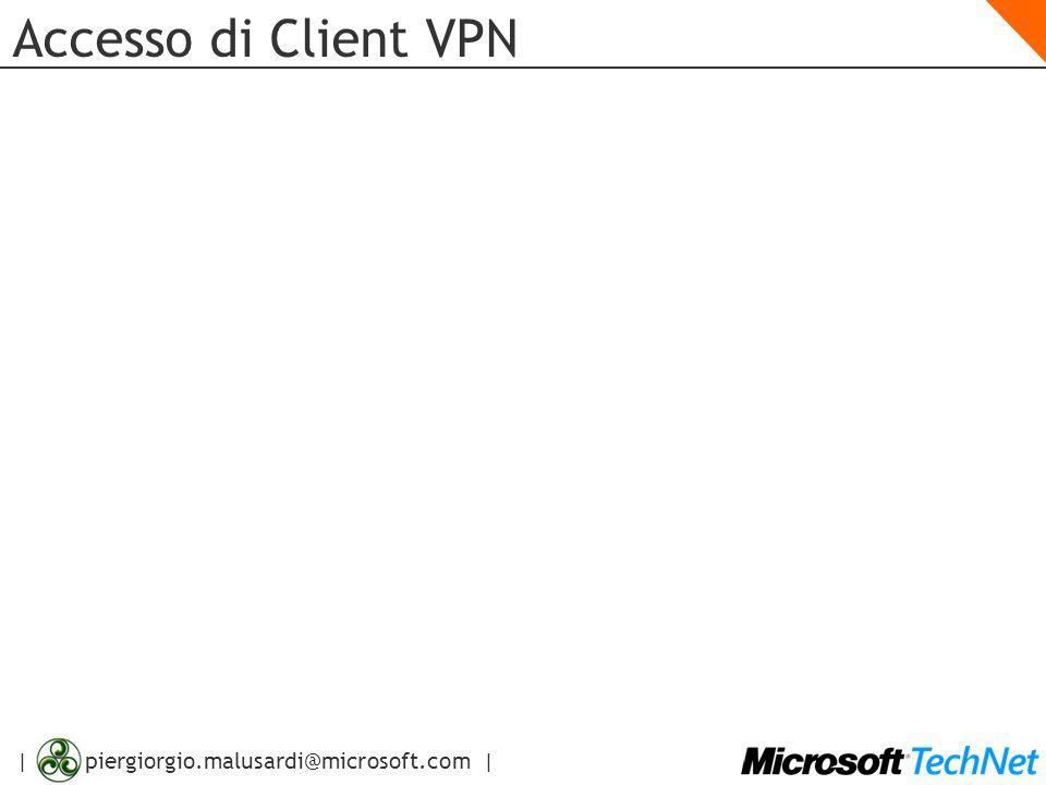 | piergiorgio.malusardi@microsoft.com | VPN Site-to-Site Configurazione Opzioni di Configurazione Spiegazione Protocollo VPN Scegliere il protocollo che si desidera usare nella connessione tra siti remoti Server VPN remoto Indicare indirizzo IP o nome del Gateway VPN nel sito remoto Autenticazione Remota Inserire username/password da usare per iniziare la connessione con il sito remoto Autenticazione L2TP/IPSec Se necessario, configurare una chiave condivisa che sarà usata per autenticare il computer durante la creazione del tunnel Indirizzi di Rete Configurare il range di indirizzi IP che rappresenta tutti i computer nella rete remota