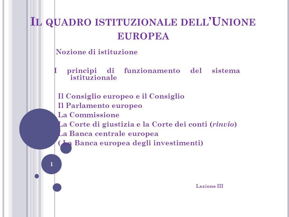 I L QUADRO ISTITUZIONALE DELL 'U NIONE EUROPEA Nozione di istituzione I principi di funzionamento del sistema istituzionale Il Consiglio europeo e il