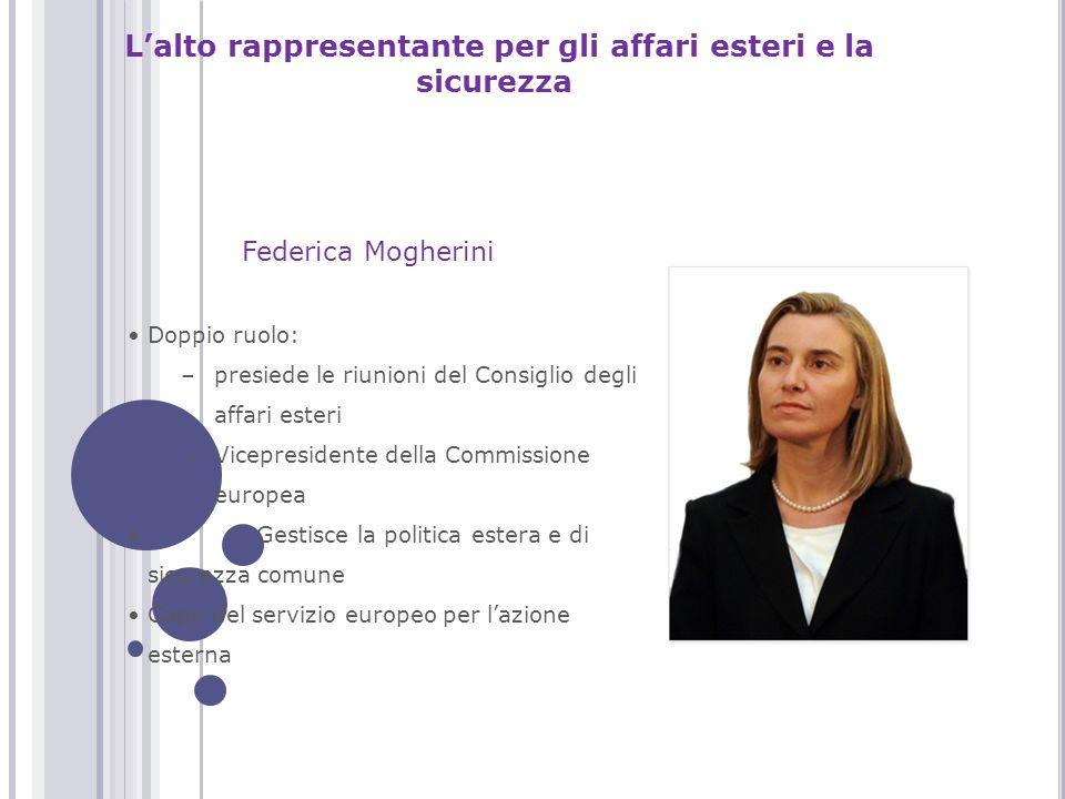 L'alto rappresentante per gli affari esteri e la sicurezza Doppio ruolo: –presiede le riunioni del Consiglio degli affari esteri –Vicepresidente della