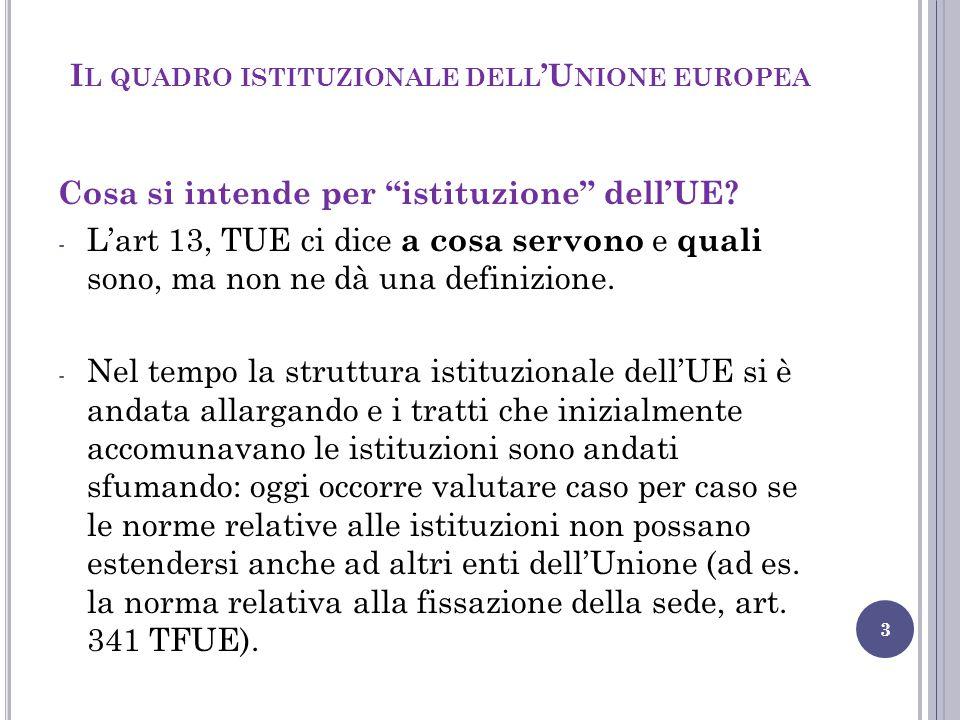 """3 Cosa si intende per """"istituzione"""" dell'UE? - L'art 13, TUE ci dice a cosa servono e quali sono, ma non ne dà una definizione. - Nel tempo la struttu"""