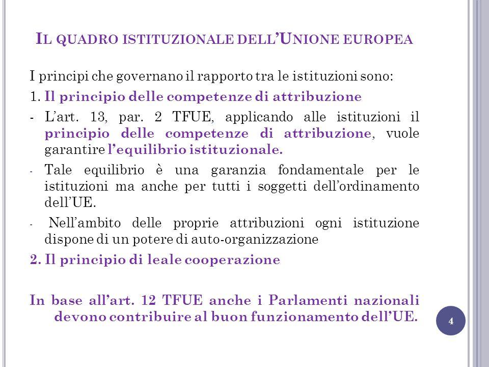 I L QUADRO ISTITUZIONALE DELL 'U NIONE EUROPEA 4 I principi che governano il rapporto tra le istituzioni sono: 1. Il principio delle competenze di att