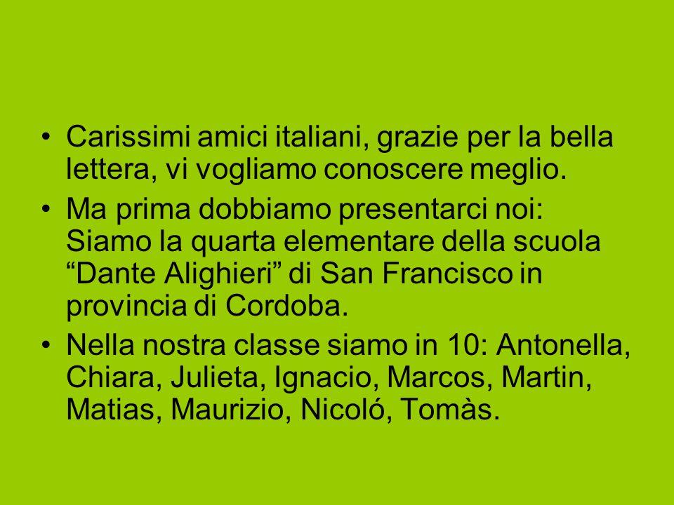 Carissimi amici italiani, grazie per la bella lettera, vi vogliamo conoscere meglio.