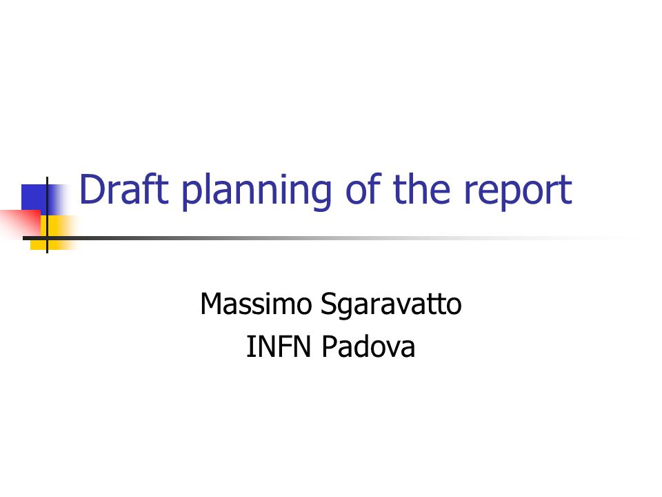 Draft planning of the report Massimo Sgaravatto INFN Padova