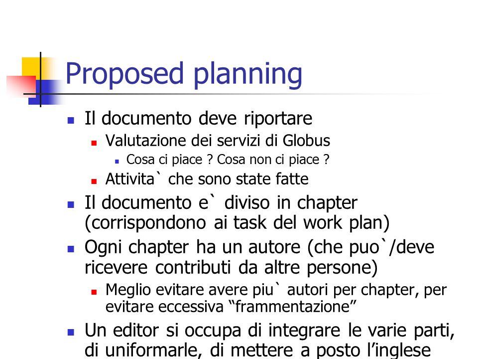 Proposed planning Il documento deve riportare Valutazione dei servizi di Globus Cosa ci piace .