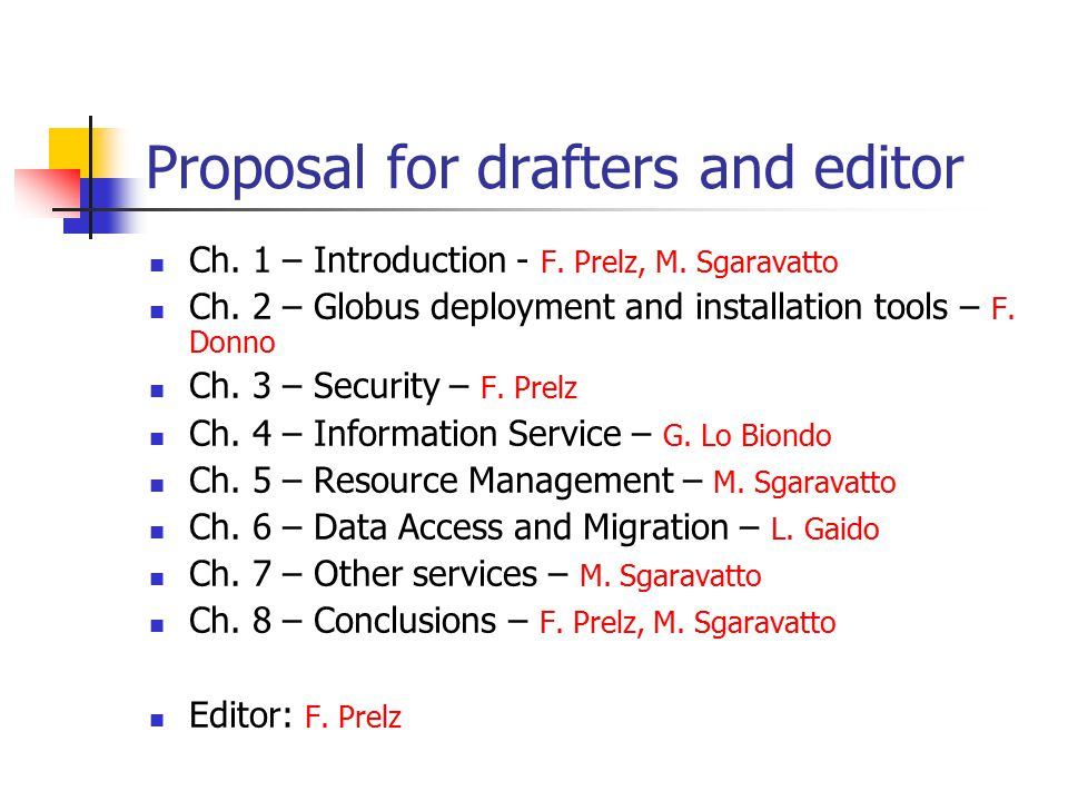 Proposal for drafters and editor Ch. 1 – Introduction - F.