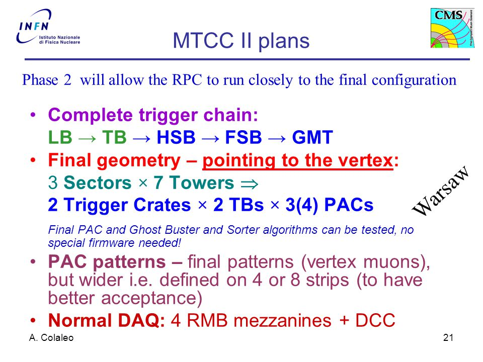 A. Colaleo21 MTCC II plans Complete trigger chain: LB → TB → HSB → FSB → GMT Final geometry – pointing to the vertex: 3 Sectors × 7 Towers  2 Trigger