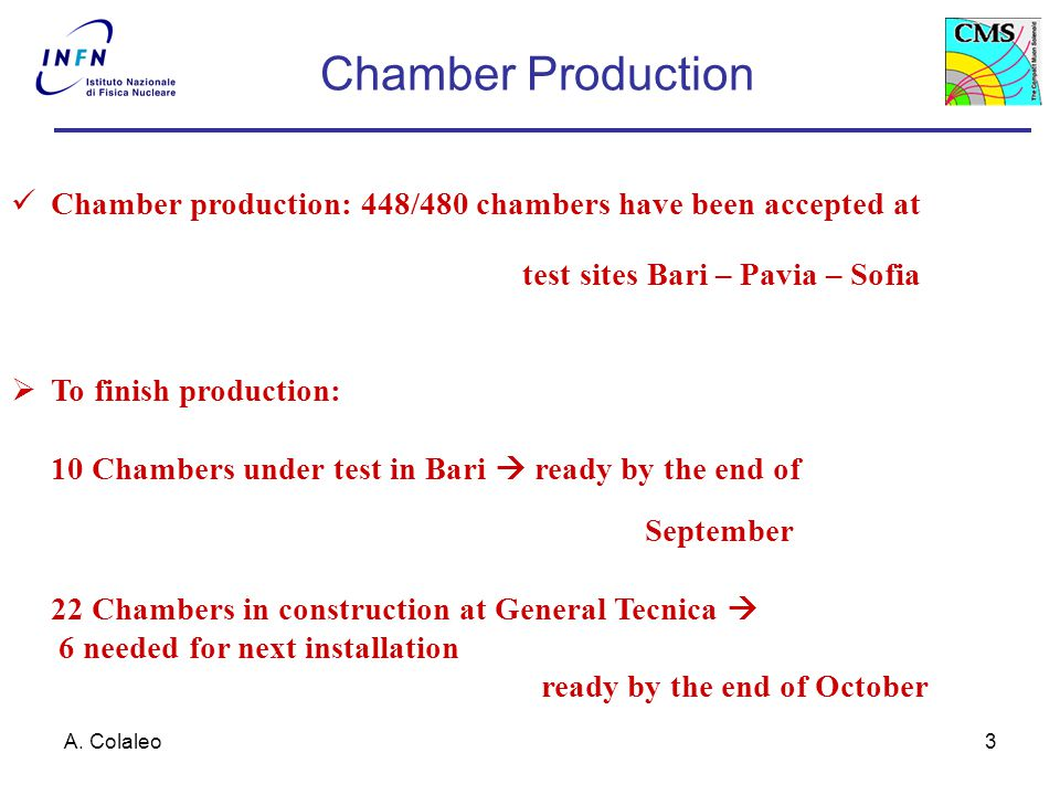 A. Colaleo3 Chamber Production Chamber production: 448/480 chambers have been accepted at test sites Bari – Pavia – Sofia  To finish production: 10 C
