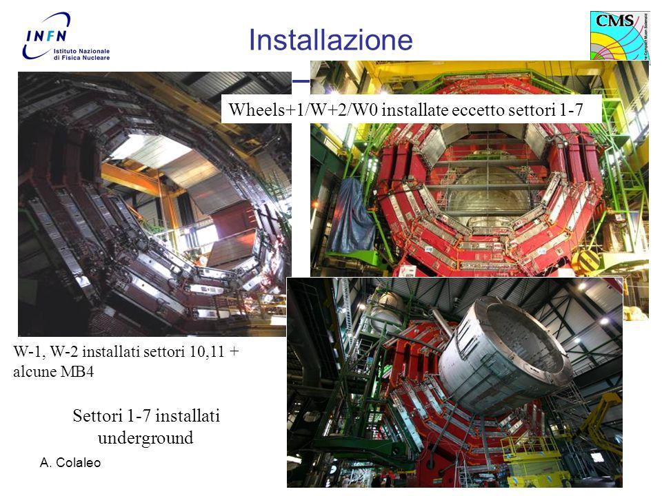 A. Colaleo6 Settori 1-7 installati underground Wheels+1/W+2/W0 installate eccetto settori 1-7 W-1, W-2 installati settori 10,11 + alcune MB4 Installaz