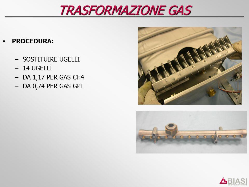PROCEDURA: – –SOSTITUIRE UGELLI – –14 UGELLI – –DA 1,17 PER GAS CH4 – –DA 0,74 PER GAS GPL TRASFORMAZIONE GAS