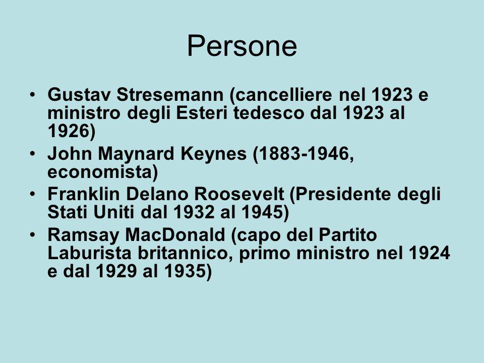 Persone Gustav Stresemann (cancelliere nel 1923 e ministro degli Esteri tedesco dal 1923 al 1926) John Maynard Keynes (1883-1946, economista) Franklin Delano Roosevelt (Presidente degli Stati Uniti dal 1932 al 1945) Ramsay MacDonald (capo del Partito Laburista britannico, primo ministro nel 1924 e dal 1929 al 1935)