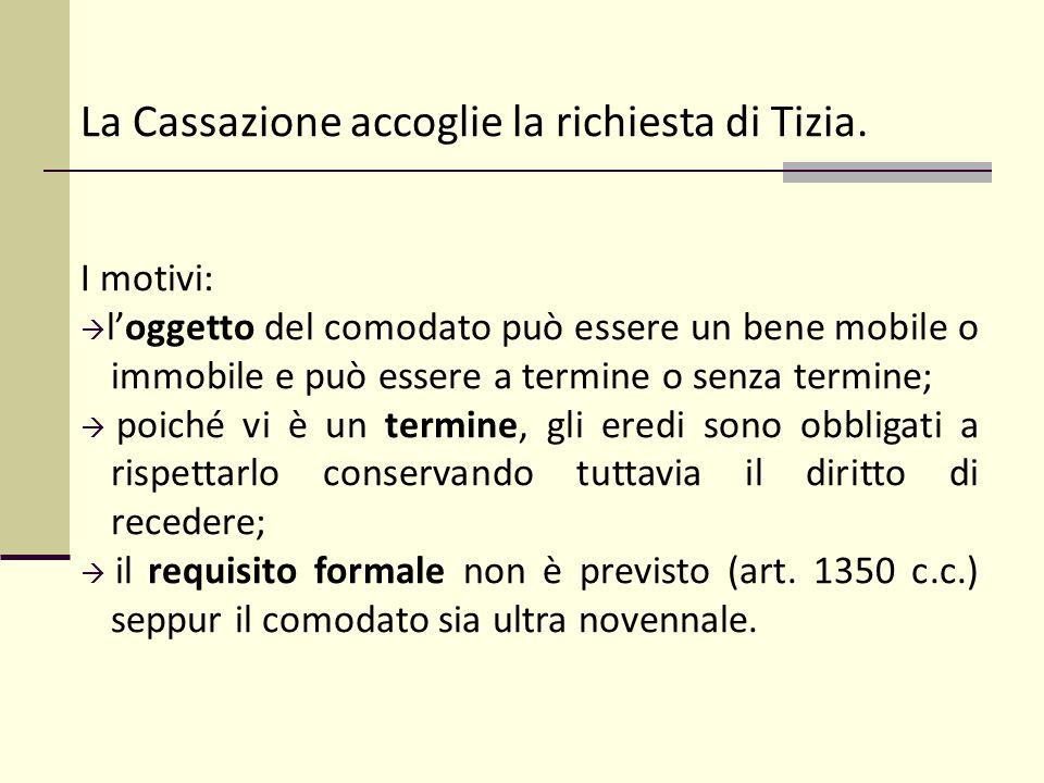 La Cassazione accoglie la richiesta di Tizia. I motivi:  l'oggetto del comodato può essere un bene mobile o immobile e può essere a termine o senza t