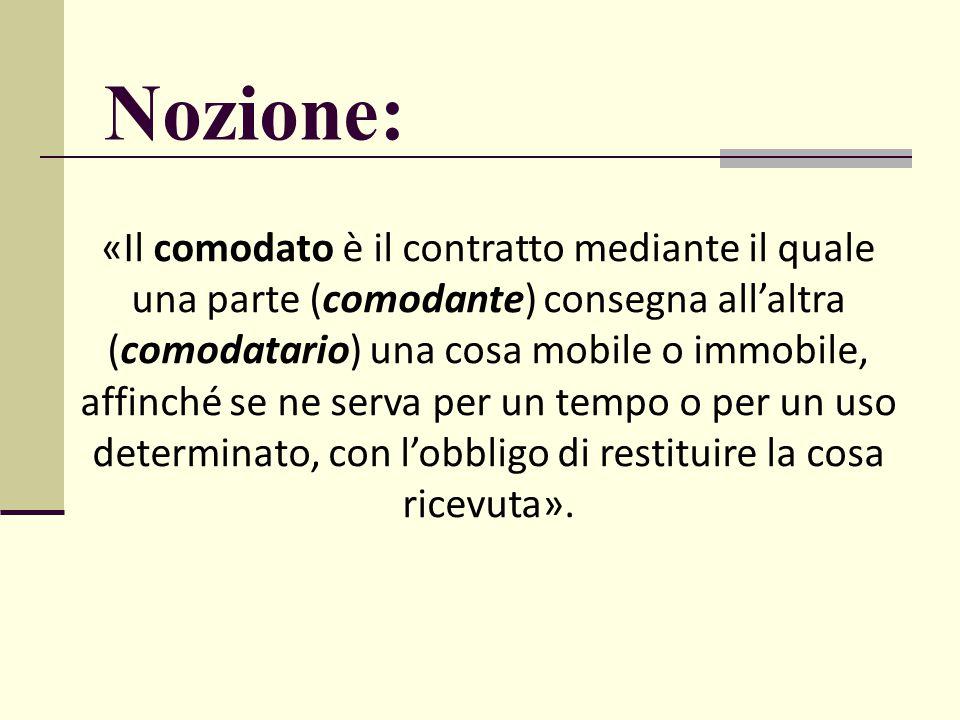 Nozione: «Il comodato è il contratto mediante il quale una parte (comodante) consegna all'altra (comodatario) una cosa mobile o immobile, affinché se