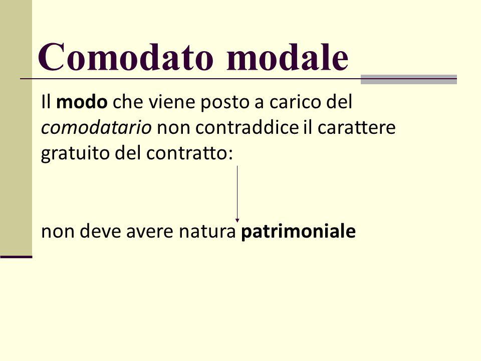 Il modo che viene posto a carico del comodatario non contraddice il carattere gratuito del contratto: non deve avere natura patrimoniale Comodato moda