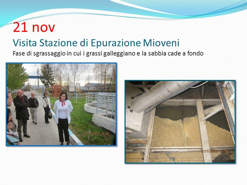 21 nov Visita Stazione di Epurazione Mioveni Fase di sgrassaggio in cui i grassi galleggiano e la sabbia cade a fondo