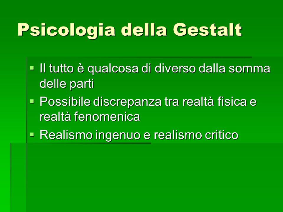 Psicologia della Gestalt  Il tutto è qualcosa di diverso dalla somma delle parti  Possibile discrepanza tra realtà fisica e realtà fenomenica  Real
