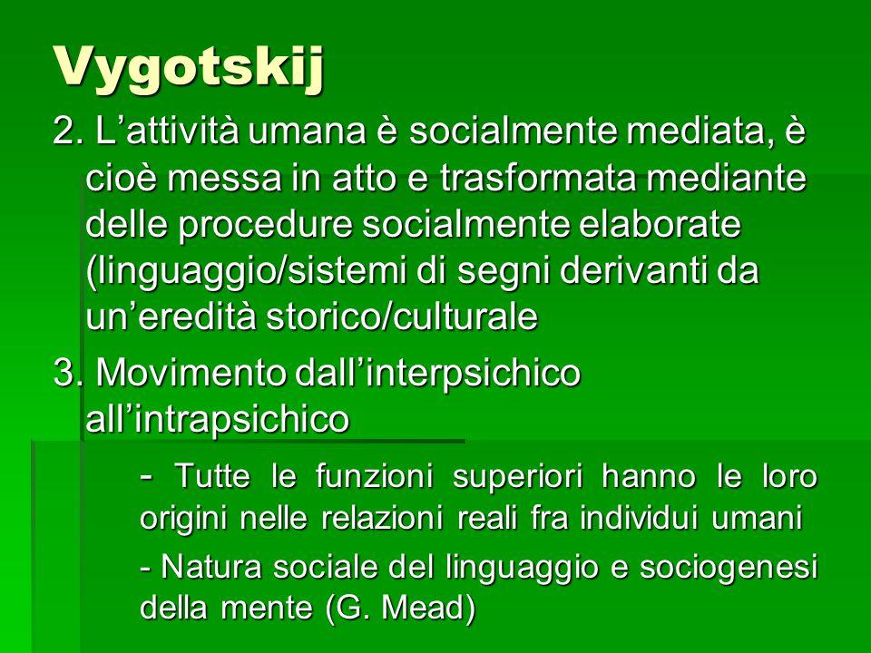 Vygotskij 2. L'attività umana è socialmente mediata, è cioè messa in atto e trasformata mediante delle procedure socialmente elaborate (linguaggio/sis