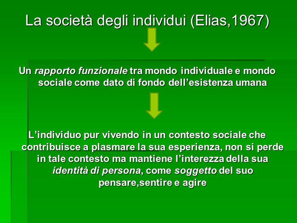 La società degli individui (Elias,1967) Un rapporto funzionale tra mondo individuale e mondo sociale come dato di fondo dell'esistenza umana L'individ