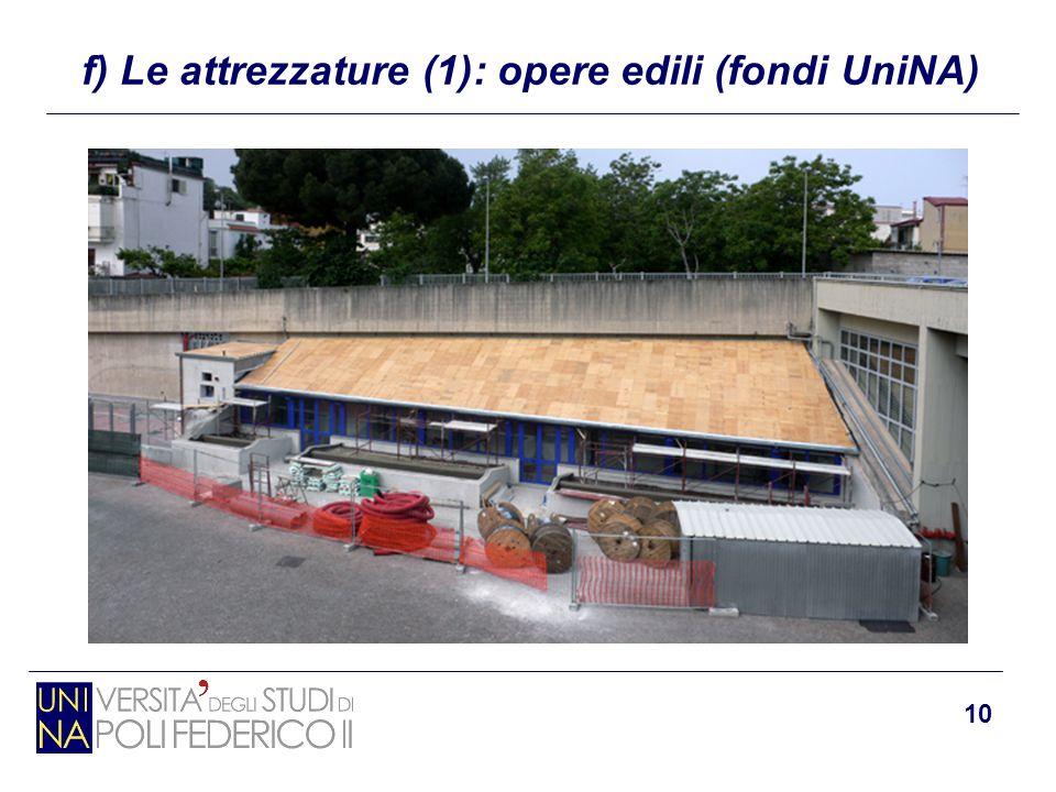 10 f) Le attrezzature (1): opere edili (fondi UniNA)