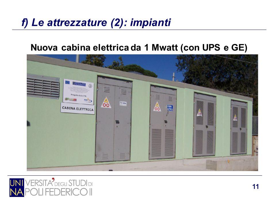11 f) Le attrezzature (2): impianti Nuova cabina elettrica da 1 Mwatt (con UPS e GE)