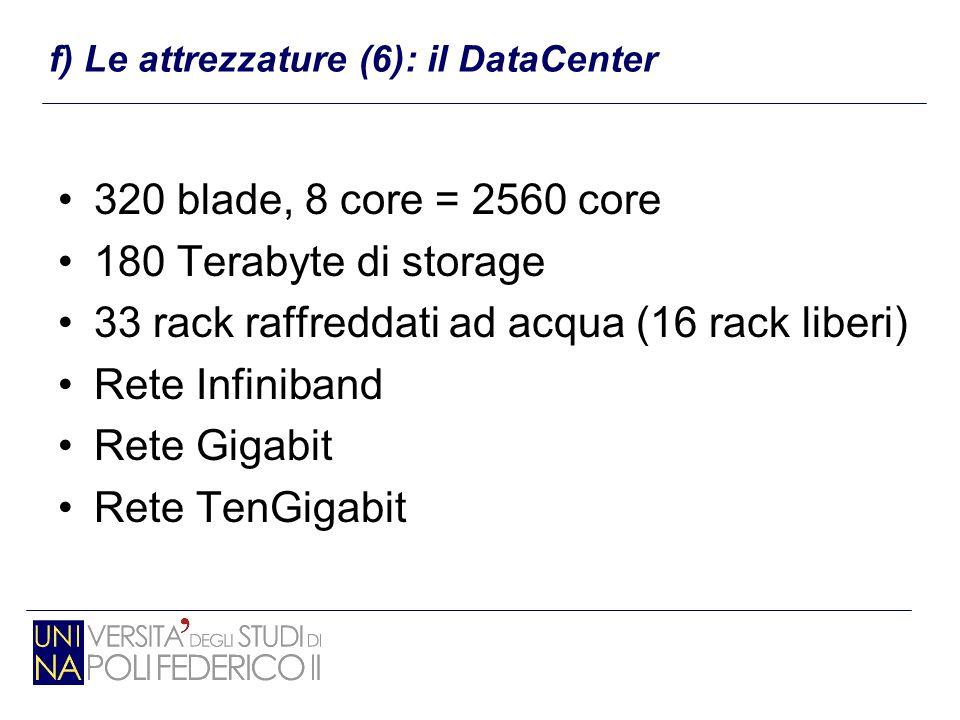 320 blade, 8 core = 2560 core 180 Terabyte di storage 33 rack raffreddati ad acqua (16 rack liberi) Rete Infiniband Rete Gigabit Rete TenGigabit f) Le