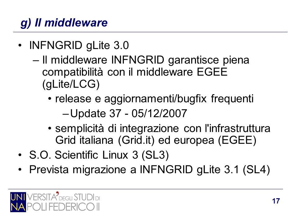 17 INFNGRID gLite 3.0 –Il middleware INFNGRID garantisce piena compatibilità con il middleware EGEE (gLite/LCG) release e aggiornamenti/bugfix frequen