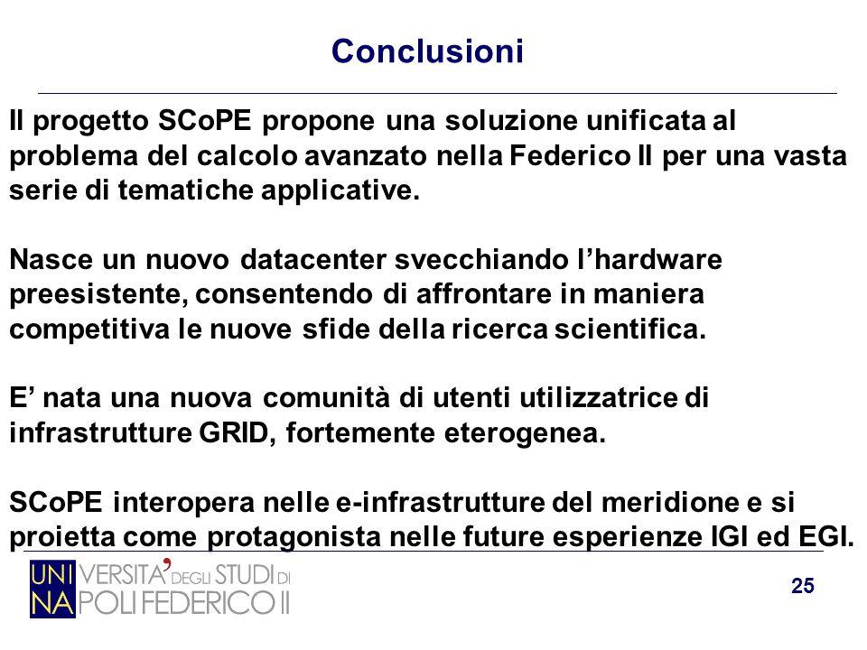 25 Conclusioni Il progetto SCoPE propone una soluzione unificata al problema del calcolo avanzato nella Federico II per una vasta serie di tematiche a