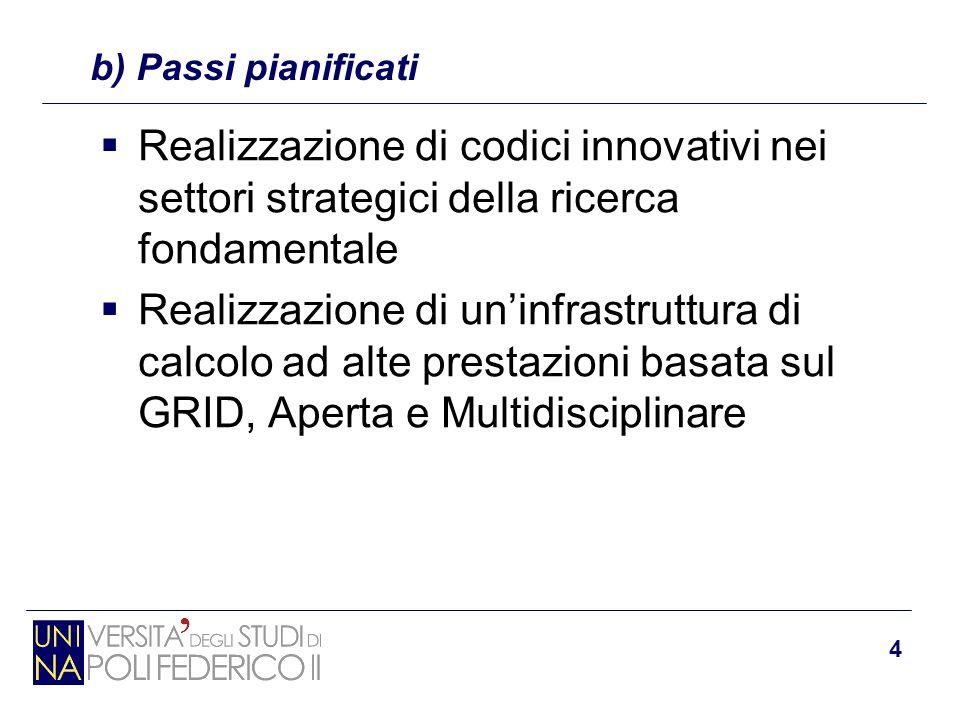 4  Realizzazione di codici innovativi nei settori strategici della ricerca fondamentale  Realizzazione di un'infrastruttura di calcolo ad alte prest