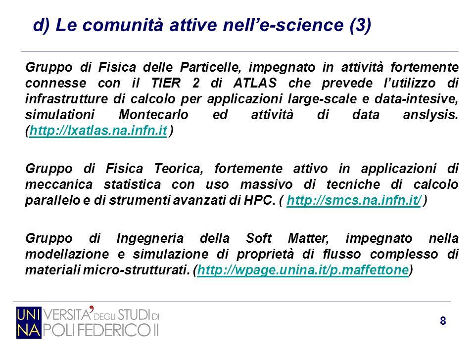 8 d) Le comunità attive nell'e-science (3) Gruppo di Fisica delle Particelle, impegnato in attività fortemente connesse con il TIER 2 di ATLAS che pre