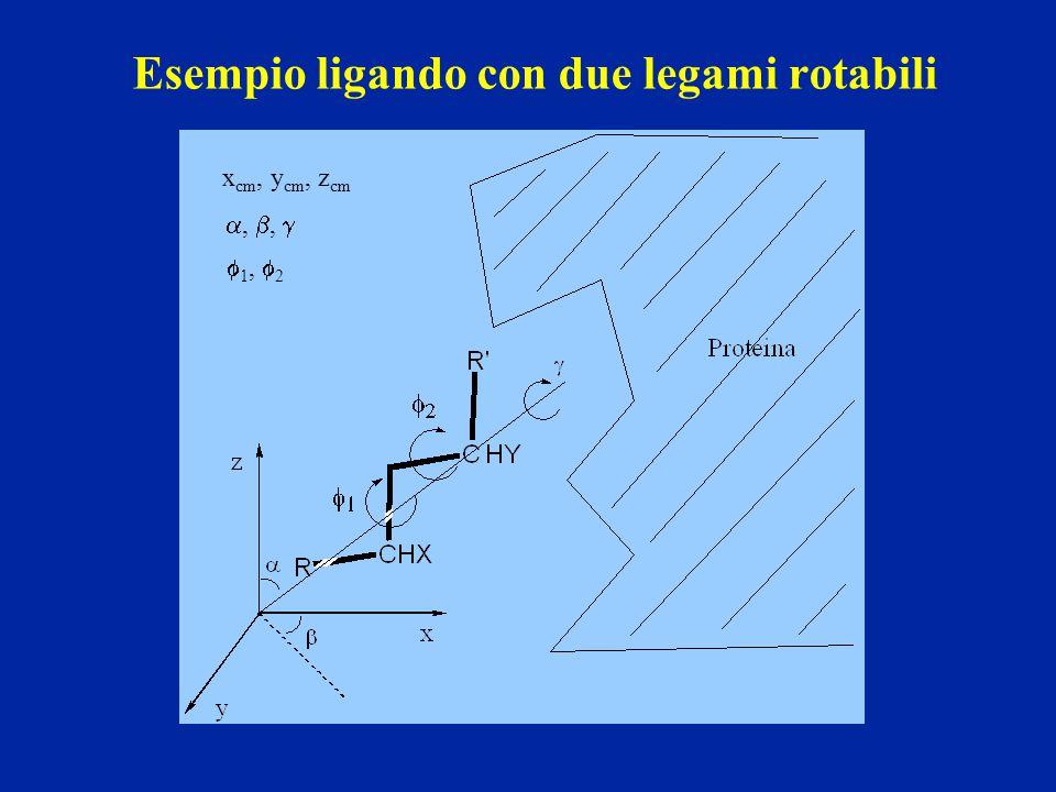 Esempio ligando con due legami rotabili x cm, y cm, z cm , ,   1,  2