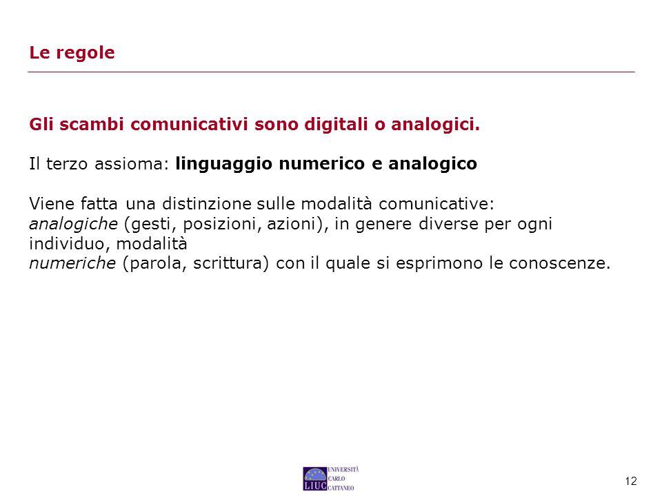 12 Gli scambi comunicativi sono digitali o analogici.