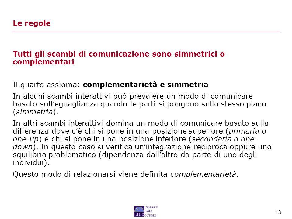 13 Tutti gli scambi di comunicazione sono simmetrici o complementari Il quarto assioma: complementarietà e simmetria In alcuni scambi interattivi può prevalere un modo di comunicare basato sull'eguaglianza quando le parti si pongono sullo stesso piano (simmetria).