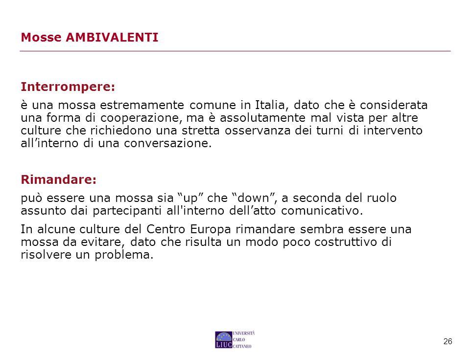 26 Interrompere: è una mossa estremamente comune in Italia, dato che è considerata una forma di cooperazione, ma è assolutamente mal vista per altre culture che richiedono una stretta osservanza dei turni di intervento all'interno di una conversazione.