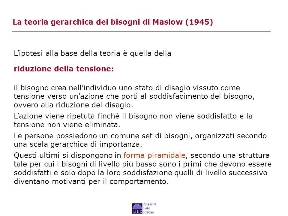 La teoria gerarchica dei bisogni di Maslow (1945) L'ipotesi alla base della teoria è quella della riduzione della tensione: il bisogno crea nell'individuo uno stato di disagio vissuto come tensione verso un'azione che porti al soddisfacimento del bisogno, ovvero alla riduzione del disagio.