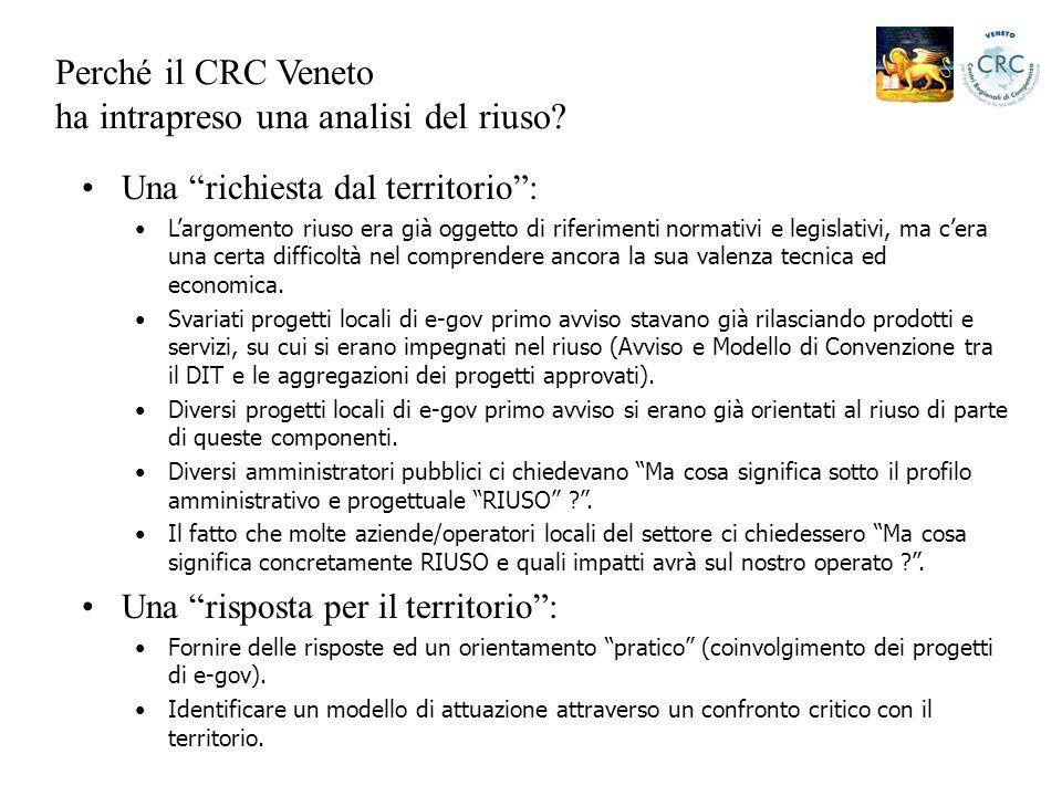 Perché il CRC Veneto ha intrapreso una analisi del riuso.