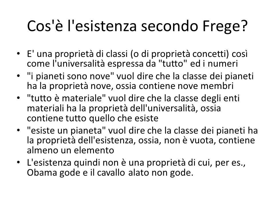 Cos'è l'esistenza secondo Frege? E' una proprietà di classi (o di proprietà concetti) così come l'universalità espressa da