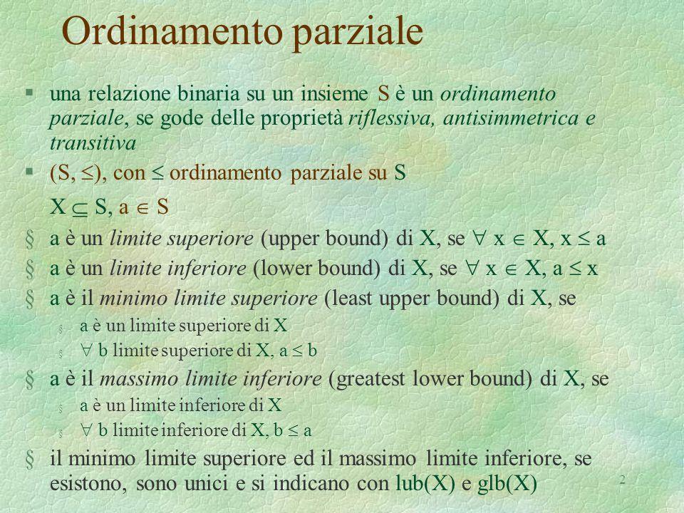 2 Ordinamento parziale §una relazione binaria su un insieme S è un ordinamento parziale, se gode delle proprietà riflessiva, antisimmetrica e transiti