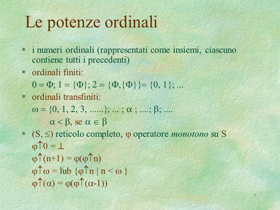 7 Le potenze ordinali §i numeri ordinali (rappresentati come insiemi, ciascuno contiene tutti i precedenti) §ordinali finiti: 0  