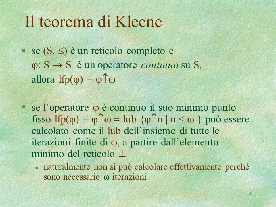8 Il teorema di Kleene  se (S,  ) è un reticolo completo e  : S  S è un operatore continuo su S, allora lfp(  ) =   se l'operatore  è conti